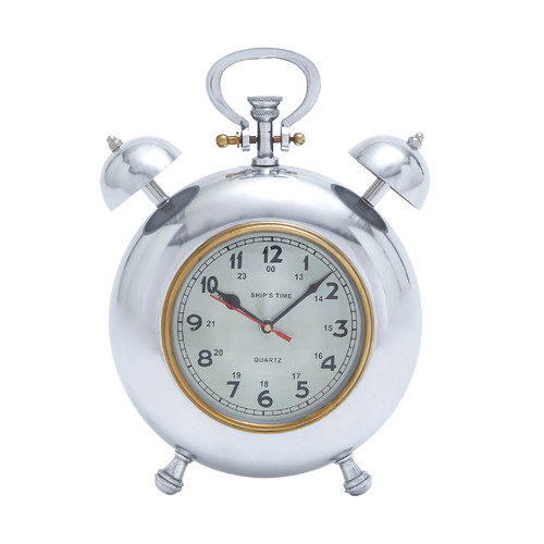 Woodland Imports Beautiful Metal Clock with Display Numbers and Snooze Buttons