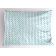 Chevron Pillow Sham Classical Compact Design of Zigzags Upped Simplistic Texture Tile Horizontal, Decorative Standard King Size Printed Pillowcase, 36 X 20 Inches, Pale Blue White, by Ambesonne