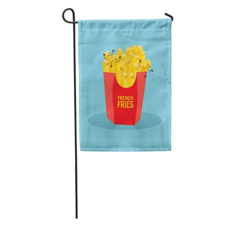 LADDKE Comic Kawaii French Fries Character Blue Cute American Arm Cartoon Garden Flag Decorative Flag House Banner 12x18
