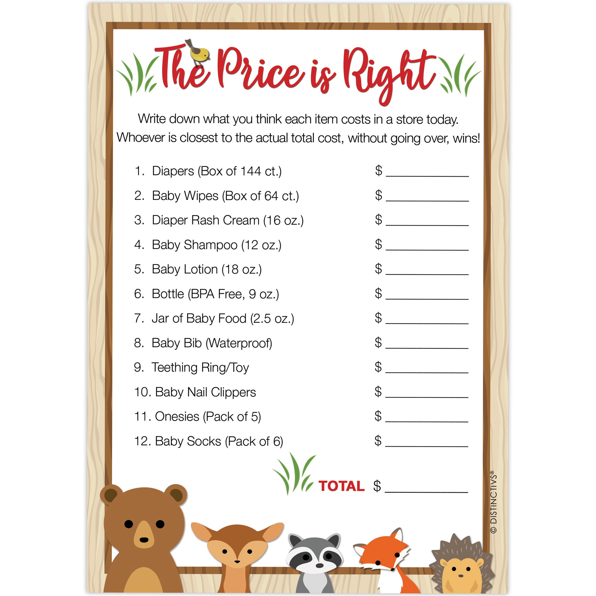 Woodland Animals The Price is Right Baby Shower Game Cards, 20 Count