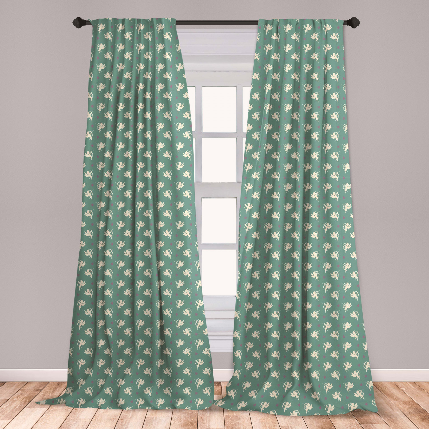 Green Curtains 2 Panels Set Greek Inspired Romance Cupid Silhouette Pattern With Little Hearts Print Window Drapes For Living Room Bedroom Jade Green Purple Cream By Ambesonne Walmart Com Walmart Com