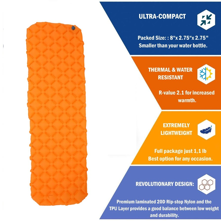 Sleeping Pad for Camping Air Pad Inflatable Lightweight Sleeping Mat camping pad self inflating Orange