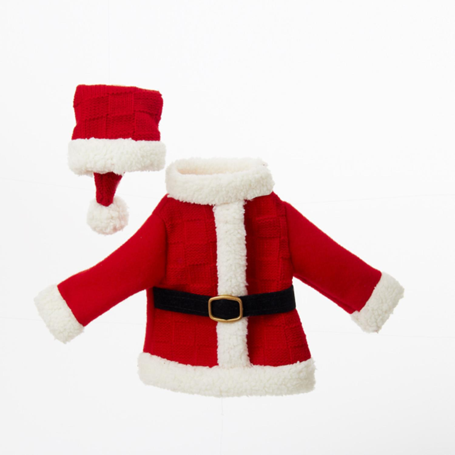 "11"" Festive Red and White Santa's Coat and Hat Decorative Knit Wine Bottle Cover by Kurt Adler"