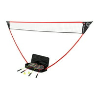 Zume Games Portable Badminton Set with Freestanding Base Sets Up on Any Surface in Seconds. No Tools or Stakes Required
