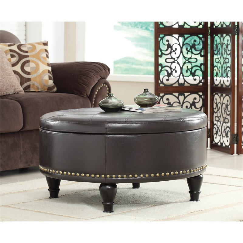 INSPIRED by Bassett Augusta Storage Leather Ottoman in Espresso