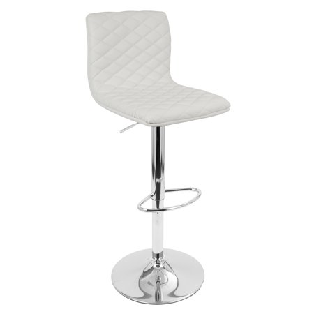 Caviar Leather - Caviar Contemporary Adjustable Barstool with Swivel in White Faux Leather by LumiSource