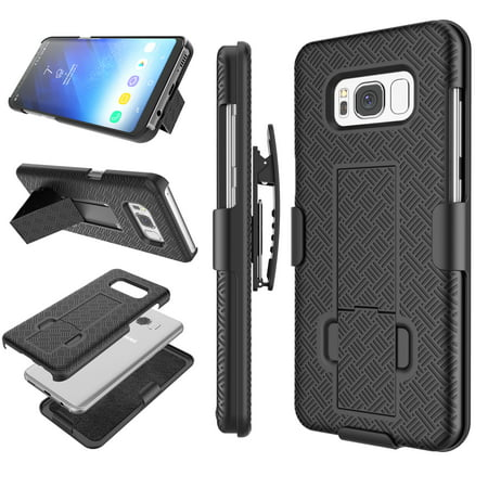 Samsung Galaxy S8 Case, Galaxy S8 Hard Case, Njjex Hard Shell [Built-in Kickstand] Holster Locking Belt Swivel Clip Defender Secure Slim Case Cover For Samsung Galaxy S8 All Carries
