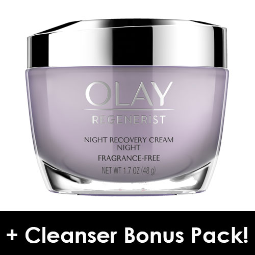 Olay Regenerist Night Recovery Night Cream Face Moisturizer 1.7 oz + Daily Facial Dry Cleansing Cloths, 7 ct