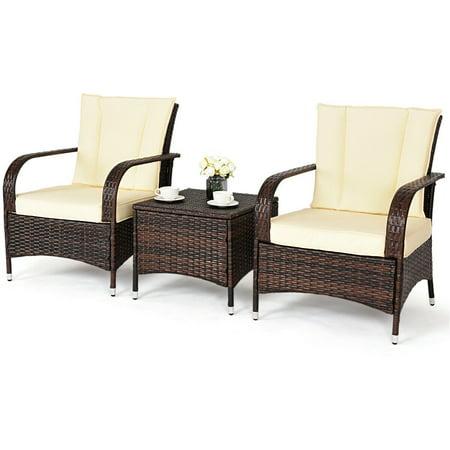 Goplus 3PCS Outdoor Patio Mix Brown Rattan Wicker Furniture Set Seat Cushioned Beige ()
