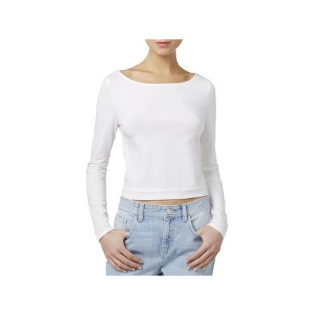 Guess Womens Cropped Tie Back Casual Top