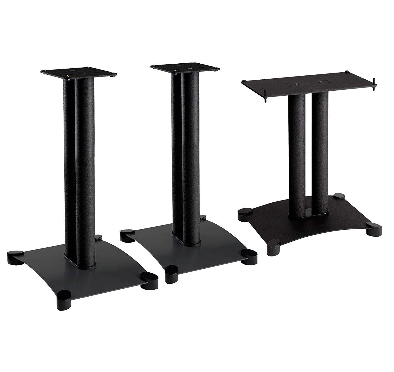 Sanus SFC18B1 Black (Each) Center Speaker Stand And SF22B1 Black (Pair) 22-inch Bookshelf Speaker Stands