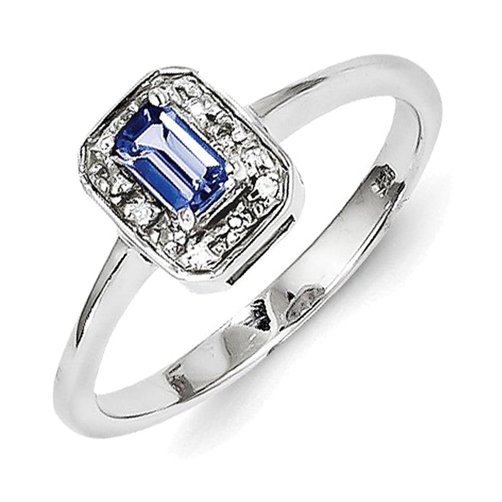 Sterling Silver Tanzanite & Diamond Ring QDX932 by