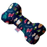 Christmas Party 8 Inch Canvas Bone Dog Toy