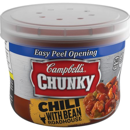 Campbells Chunky Chili With Bean Roadhouse Microwavable Bowl  15 25 Oz