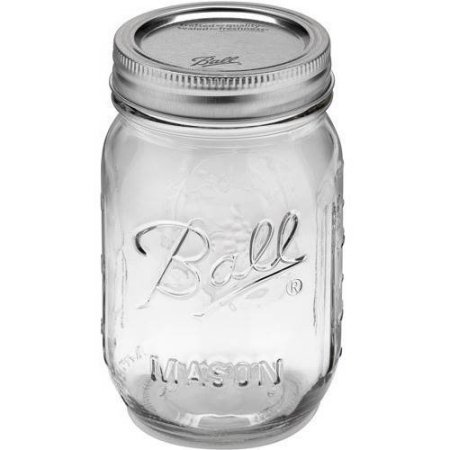 Ball Glass Mason Jar With Lid & Band, Regular Mouth, 16 Ounces, 12 Count