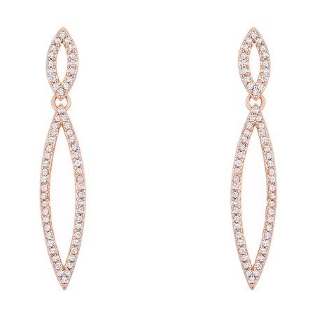 - Sara 1.2ct CZ Rose Gold Delicate Double Teardrop Drop Earrings