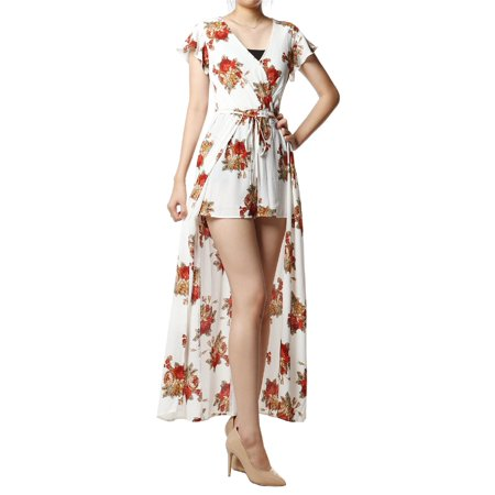1ebec2c5490 FashionOutfit - FashionOutfit Women s Floral Printed Short Sleeves Split  Maxi Short Overlay Romper - Walmart.com