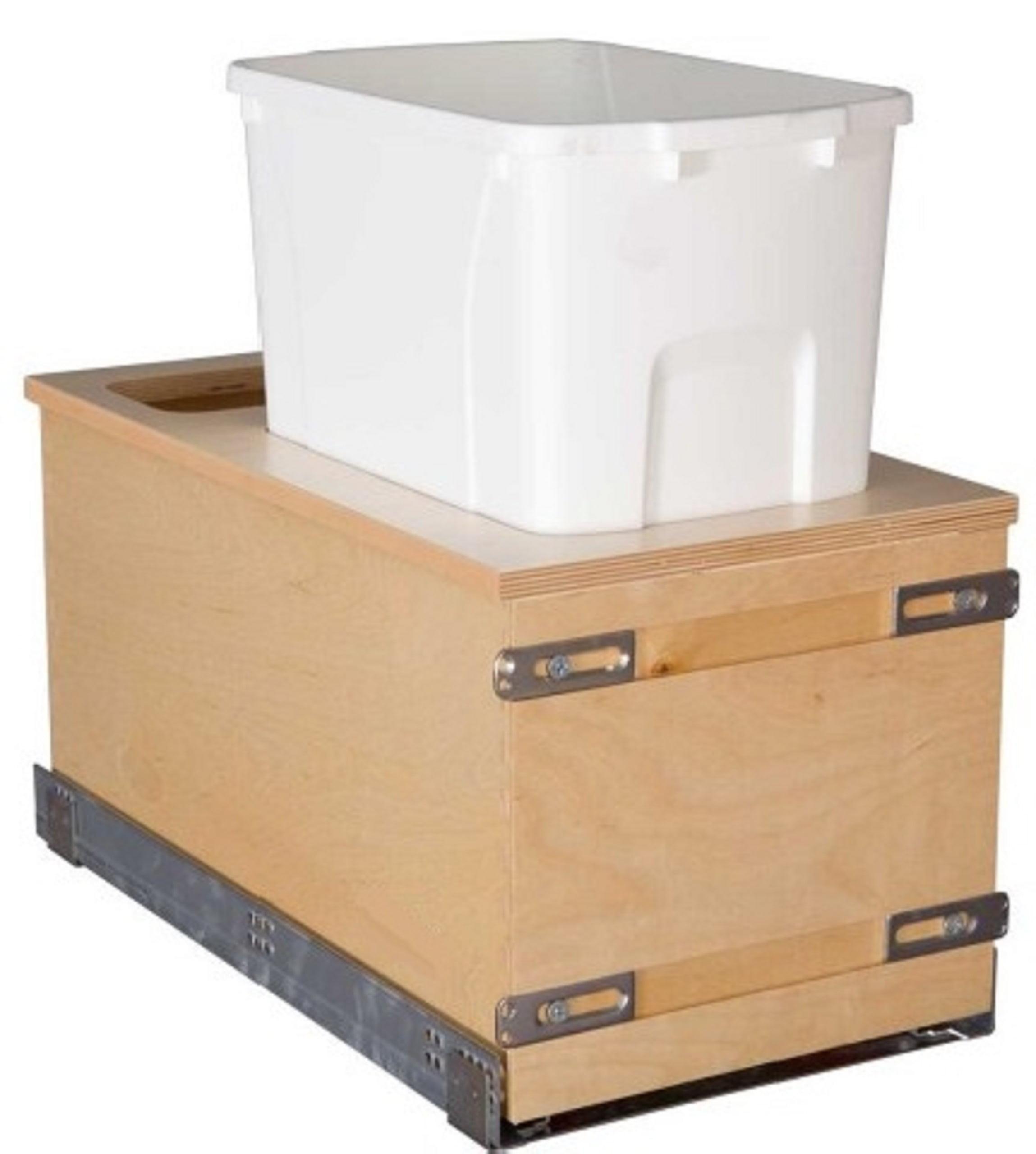 "Century Components Edge Series EDGBM11PF Kitchen Pull Out Waste Bin - 34 Qt Single White Plastic Container - Baltic Birch - Undermount Slide, 11-7/8"" wide"