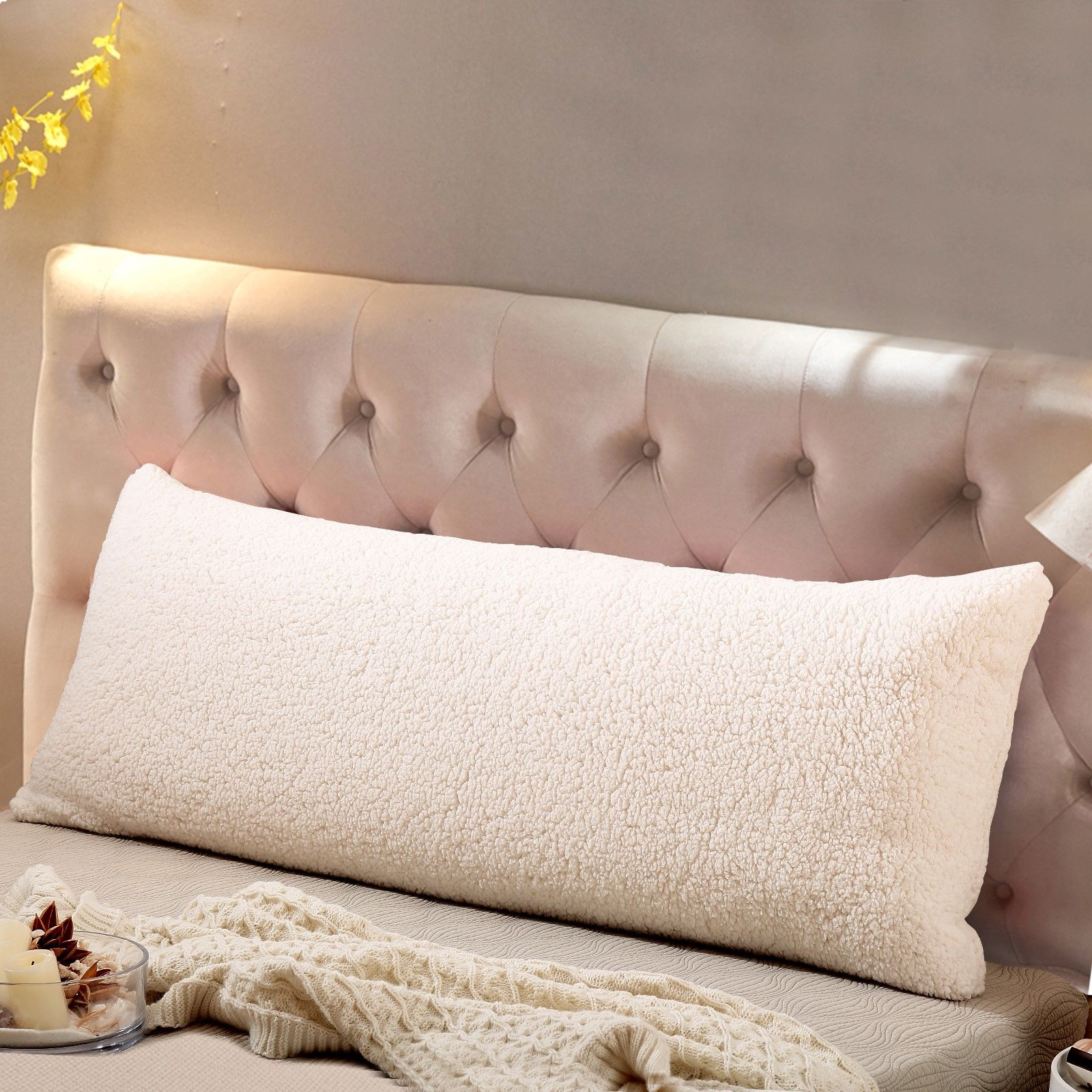 "Reafort Ultra Soft Sherpa Body Pillow Cover/Case with Zipper Closure 21""x54"""