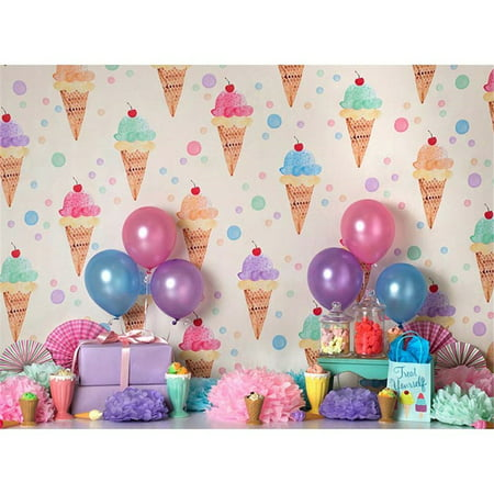 HelloDecor Polyster Photography Backdrop Infant 7x5ft Photo Background Ice Creams Colorful Dots Happy Birthday Backdrop for Party Boys and Girls Birthday Banner Background