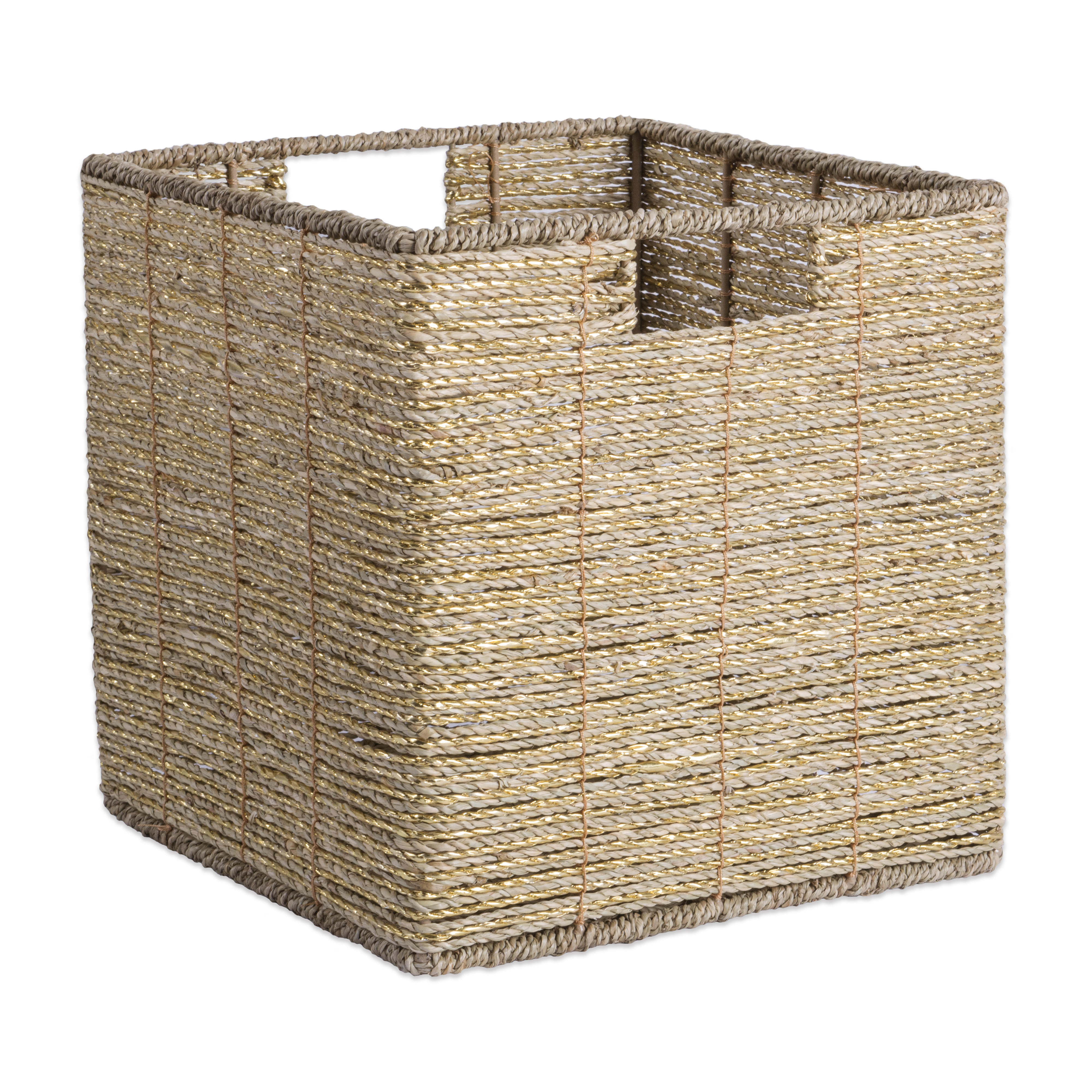 """Design Imports Seagrass Cube Metallic Gold Square, 11""""x11""""x11"""", 100% Natural Woven Paper, Gold"""