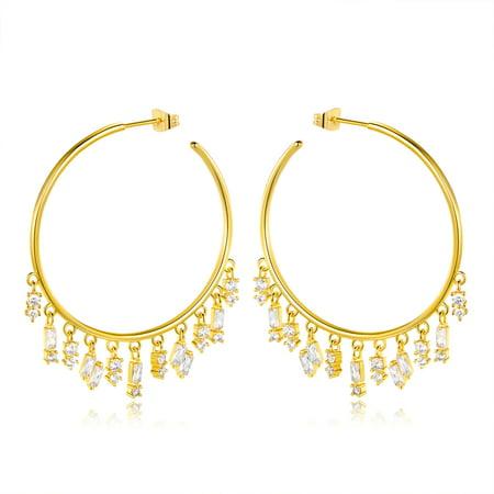 Barzel Crystal Droplets Hoop Earrings Made With Swarovski Elements