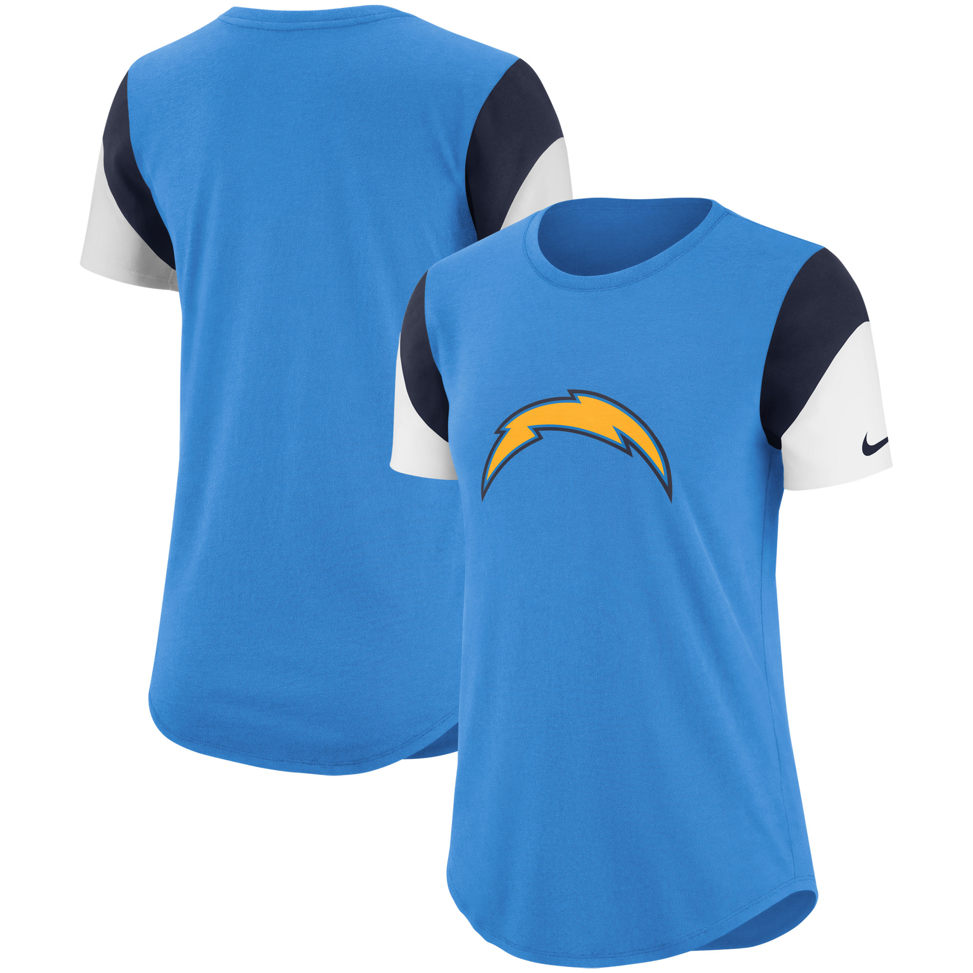 Los Angeles Chargers Nike Women's Tri-Blend Team Fan T-Shirt - Light Blue/Navy