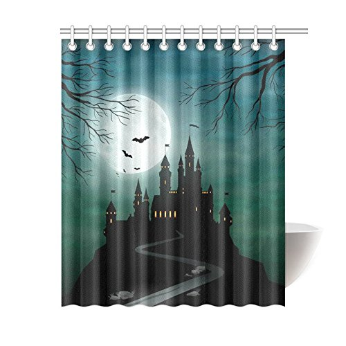 GCKG Full Moon Night Shower Curtain, Halloween Haunted Castle Polyester Fabric Shower Curtain Bathroom Sets with Hooks 60x72 Inches - image 3 of 3
