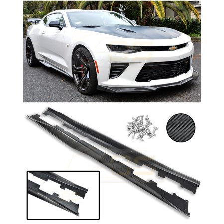 - ZL1 Style CARBON FIBER Rocker Panel Side Skirts Extension Moulding Lip Splitter For 2016-Present Chevrolet Camaro 6th Gen V6 V8 2016 2017 2018 16 17 18