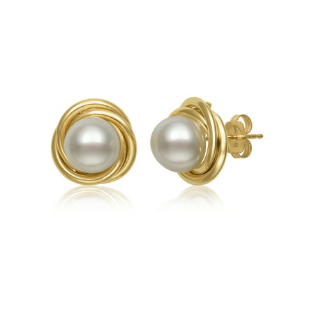 14K Yellow Gold Infinity Love Knot Cultured Freshwater Pearl Stud Earrings