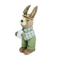 "Northlight 10"" Sisal Standing Bunny Rabbit with Robin's Egg Spring Easter Figure - Brown/Green"