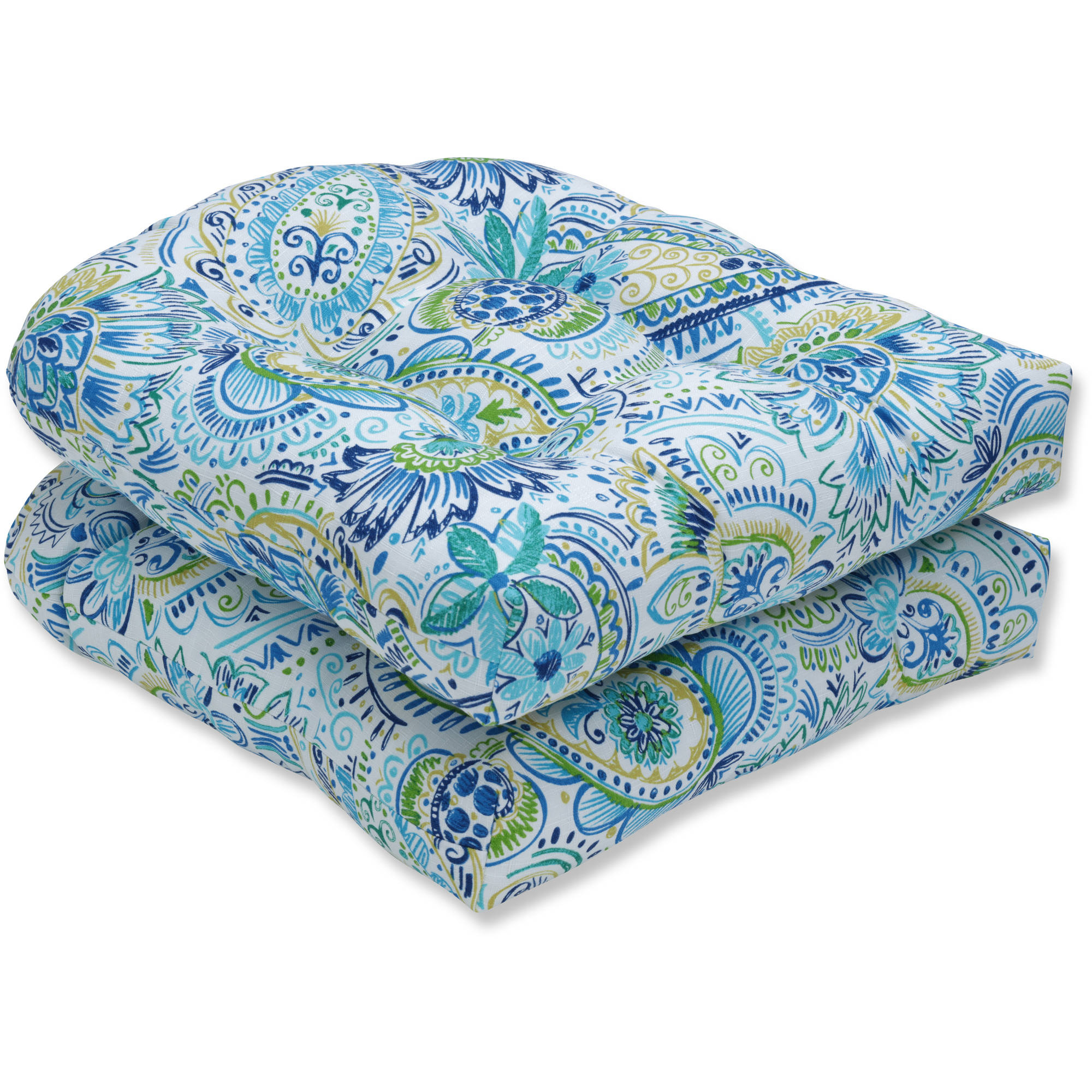 Pillow Perfect Outdoor/Indoor Gilford Baltic Wicker Seat Cushion, Set of 2