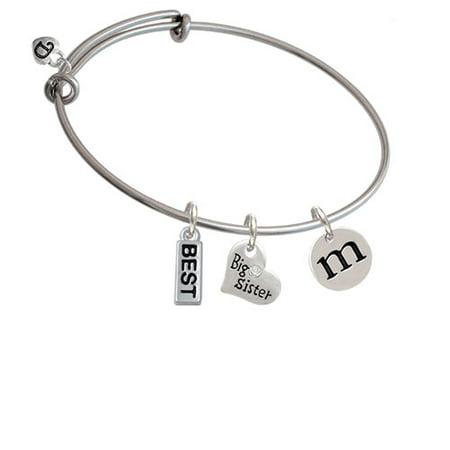 Disc 1/2'' Initial - m - Big Sister Heart Expandable Bangle Bracelet - Big Sis Bracelet