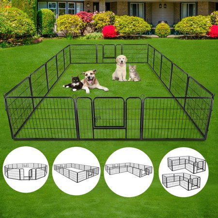 "Zeny 24"" 16 Panels Heavy Duty Metal Pet Dog Puppy Cat Exercise Fence Barrier Playpen Kennel, Outdoor & Indoor"