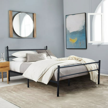 Metal Slat Platform Full Bed Frame /Bed, Box Spring Replacement with Headboard