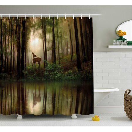 Nature Shower Curtain, Baby Deer in the Forest with Reflection on ...