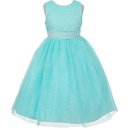 Girls On Line (BNY Corner Flower Girl Dress Sparkly Tulle & Pearl Waist Line Big Girl Aqua 10)