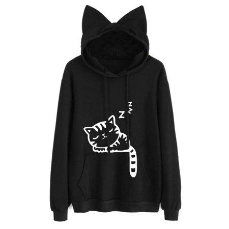 Womens Cute Hoodies Kitty Printed Long Sleeve Cat Ear Hooded Sweatshirt Pullover Blouse 10 Oz Pullover Hooded Sweatshirt