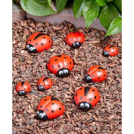 Ladybug Garden Stones - Decorative Outdoor Ornaments - Set of Nine ()