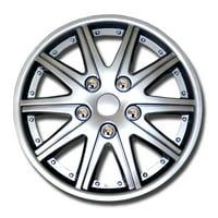 "Set of 4  Metallic Silver Hubcaps 14"" WSC-027S14 - Hub Caps Wheel Skin Cover 14 Inches 4 Pcs Set"