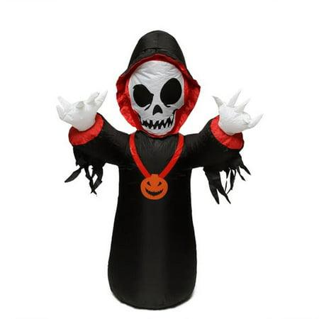 Inflatable Grim Reaper (4' Inflatable Spooky Grim Reaper Lighted Halloween Yard Art)