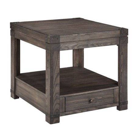Ashley burladen rectangular end table in grayish brown for Meuble ashley circulaire
