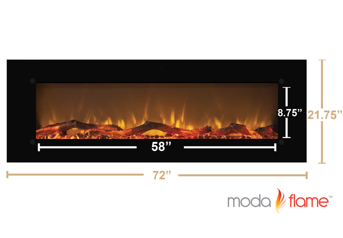 MFE5072LE 72 Inch Skyline Log Linear Wall Mounted Electric ...