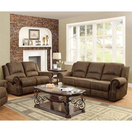 Superb Coaster Rawlinson 2 Piece Microfiber Reclining Sofa Set In Brown Ncnpc Chair Design For Home Ncnpcorg