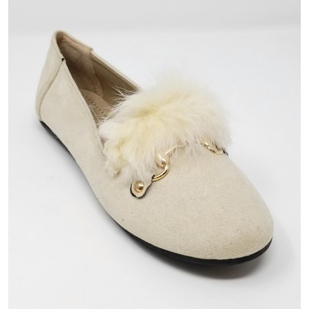 Women Ballerina Ballet Flats Faux Suede Loafers Shoes / Feather