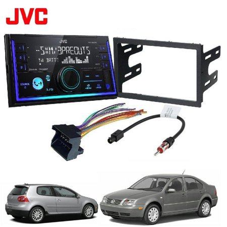 JVC KW-R930BTS Double 2 DIN CD/MP3 Player iHeart Radio SiriusXM Ready Bluetooth Car Radio Stereo Double Din Dash Kit Harness for 2002-07 VW Jetta Golf Passat