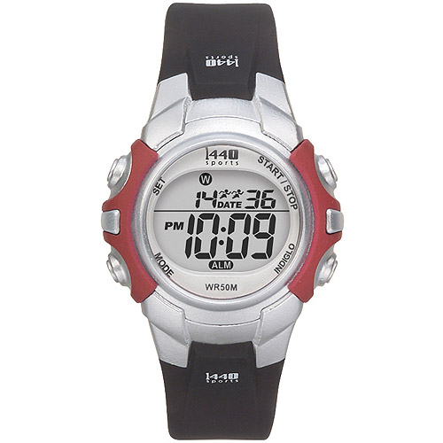Timex Women's 1440 Sports Digital Red/Silver-Tone Watch, Black Strap