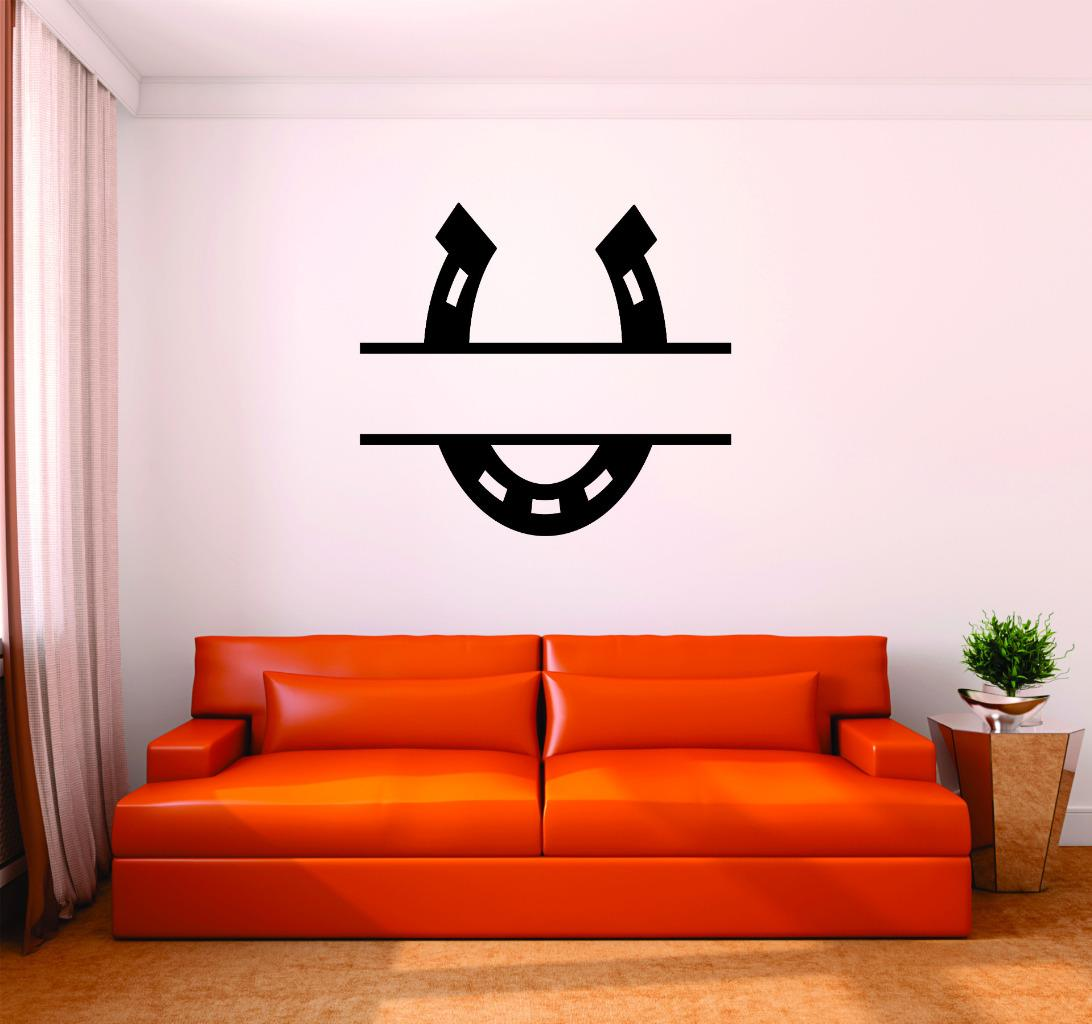 Custom Wall Decal : Horseshoe Western Cowboy Cowgirl Home Decor Living Room Bedroom Picture Art 16x16 Inches