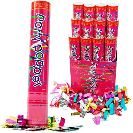 Confetti Cannons 12in Air Compressed Party Poppers Pkg/24](Party Poppers Confetti)