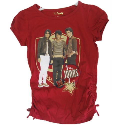 Jonas Brothers Girls Red Singers Image Graphic Print T-Shirt 7-16